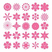 picture of organist  - Set of vector flowers simple shapes on white background - JPG