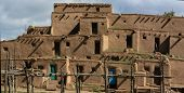 foto of pueblo  - View at the Taos Pueblo in New Mexico USA - JPG