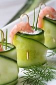 Постер, плакат: Estive Appetizer: Cucumber Rolls With Shrimp And Cheese