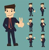 stock photo of caricatures  - Set of businessman characters poses eps10 vector format - JPG