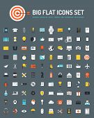 stock photo of e-business  - Flat icons big set of business and marketing objects office and working equipment communication and technology items finance and internet commerce pictogram - JPG