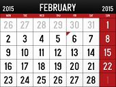 stock photo of february  - Illustration of  the calendar for February 2015 - JPG