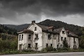stock photo of house woods  - Creepy old house in the woods - JPG