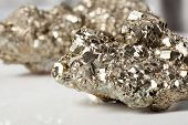 picture of pyrite  - Beautiful shiny silver and golden pyrite close - JPG