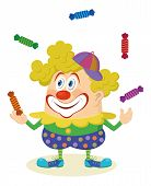 stock photo of juggling  - Cheerful kind circus clown in colorful clothes juggling candies - JPG