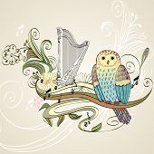 foto of lyre-flower  - illustration with owl sitting on the branches - JPG