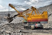 stock photo of dredge  - big dredge in career of iron ore - JPG
