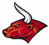image of bulls  - red bull head vector illustration - JPG