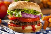 stock photo of veggie burger  - Homemade Healthy Vegetarian Quinoa Burger with Lettuce and Tomato - JPG