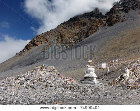 Landscape Near Thorung-la Monument And Stupa