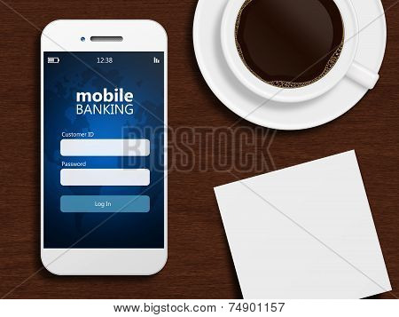 Mobile Phone With Stock Exchange Screen, Mug Of Coffee, And White Blank Lying On Wooden Desk
