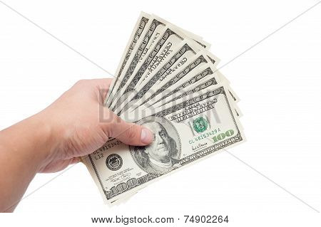 Hand With Dollars Isolated On A White Background