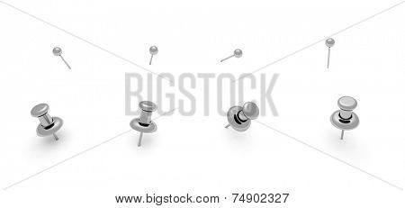 Silver chrome push pins for your design