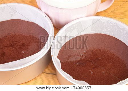 Chocolate  Cake Batter In Tins