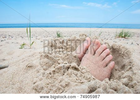 Feet buried in sand with uncovered toes on a beach