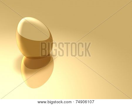 Gold Easter Egg lying on a pastel surface