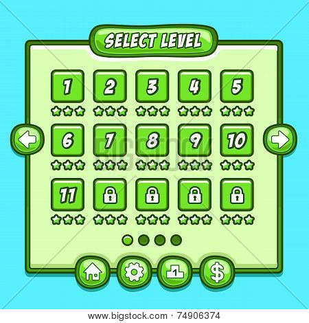 Green game level select icons buttons