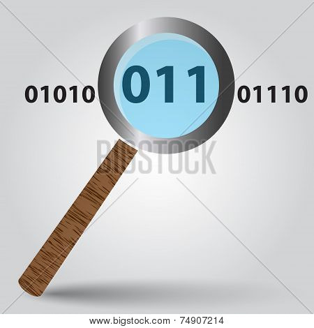 Magnifying Glass From Wood And Binary Digits Eps10