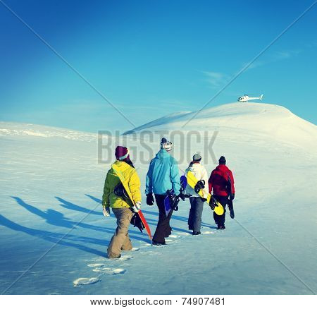 Snowboarders Sport Recreation Winter Concept