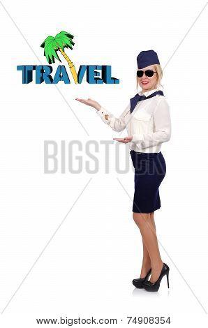 Stewardess Holding Travel Symbol