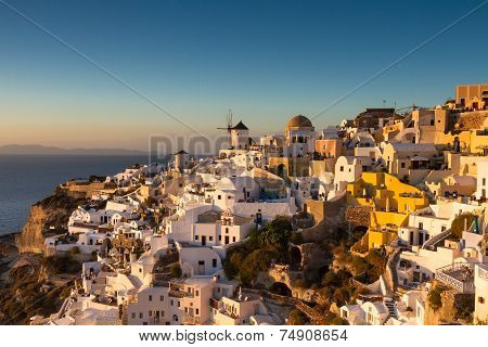 Cycladic Village Oia At Sunset