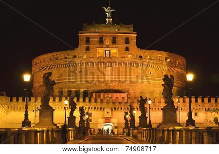 Majestic Castle of Saint Angel over the Tiber river by night  in Rome, Italy.