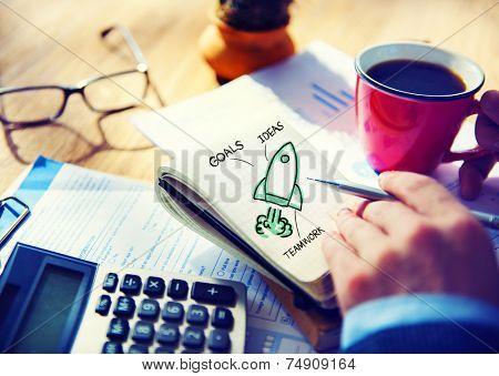 Businessman Working Start Up Goals Launch Concept