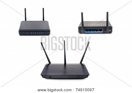 Wireless Router Set Isolated On White Background