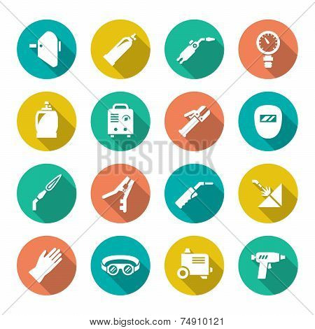 Set Flat Icons Of Welding