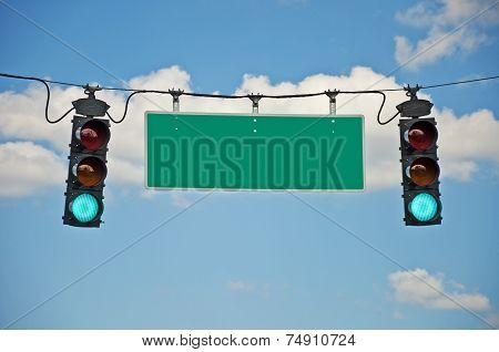Green Go Traffic Lights With Blank Sign