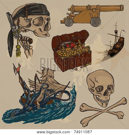 Pirates - An Hand Drawn Colored Vector Pack