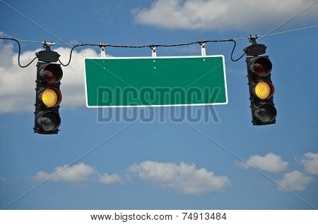 Yellow Caution Lights With Blank Traffic Sign