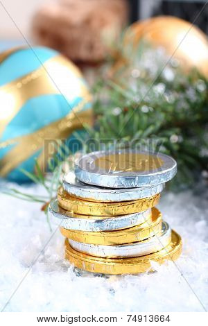 Christmas Composition With Stacked Chocolate Euro Coins