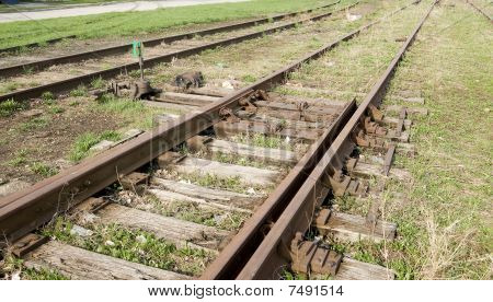 old switch on railroad track