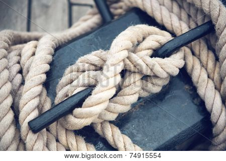 Close Up of Boat Rope Tied on Figure Eight Cleat Hitch