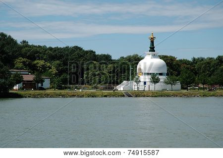 Buddhist house of prayer on the banks of the Danube in Vienna