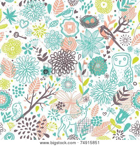 Forest concept cartoon seamless pattern with Deer, Birds and Owl in vector. Seamless pattern can be used for wallpapers, pattern fills, web page backgrounds,surface textures