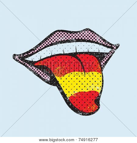Spanish flag tongue. Spanish language concept. Spanish tongue.