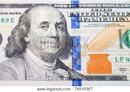 Portrait of Benjamin Franklin macro