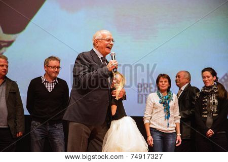 MOSCOW - OCTOBER,7 : N. Mikhalkov. Premiere of the movie Solnechny Udar, October,7 , 2014 at Octyabr Cinema in Moscow, Russia