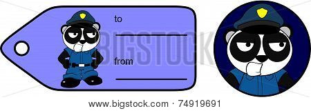 young panda bear cop cartoon giftcard