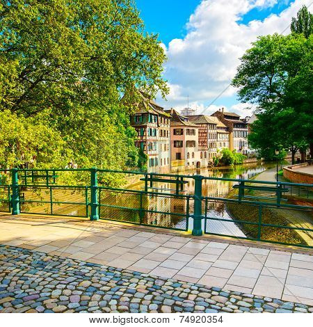 Strasbourg, Water Canal In Petite France Area And Bridge, Unesco Site. Alsace.