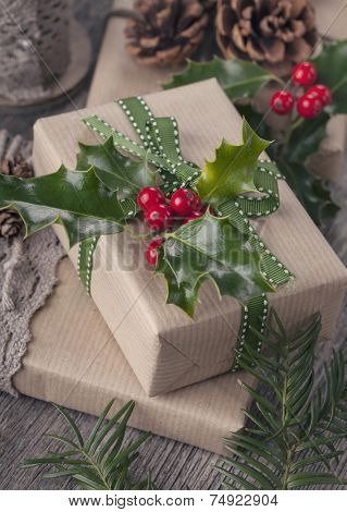 Christmas vintage present on a wooden background