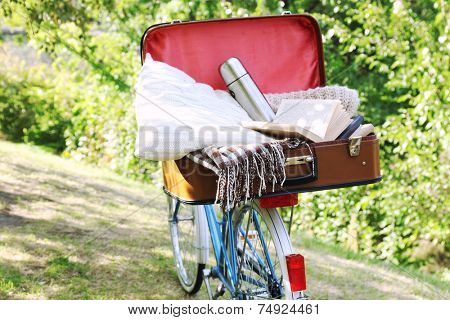 Bicycle and open suitcase on it in shadow in park