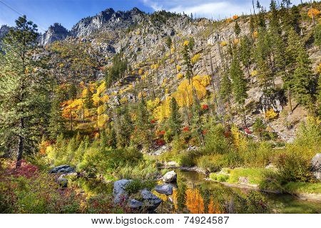 Fall Yellow Red Green Colors Reflection Wenatchee River Valley Near Stevens Pass Leavenworth Washing