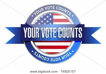 Your Vote Counts Seal Stamp Illustration
