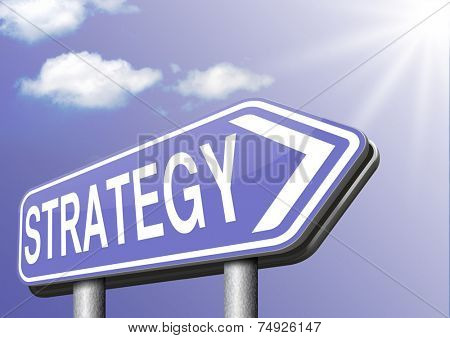 strategy for business and marketing used method and plan road sign