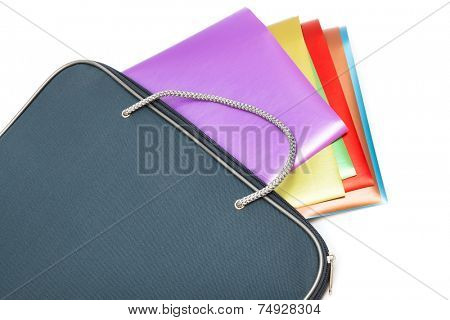 folder with colored paper on a white background