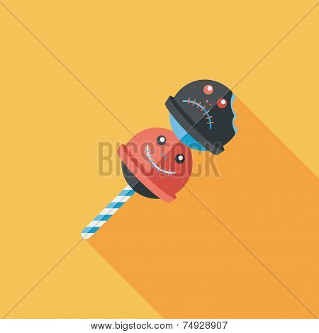 Halloween Candy Flat Icon With Long Shadow, eps10