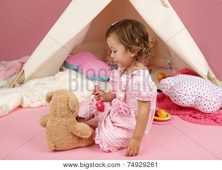 Pretend Play Tea Party At Home With Stuffed Bear Toy